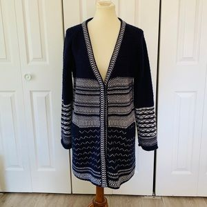 Anthropologie Tulle Navy and White Long Cardigan L